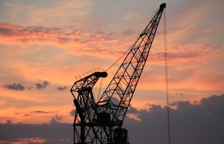 harbour crane, sunset, sky